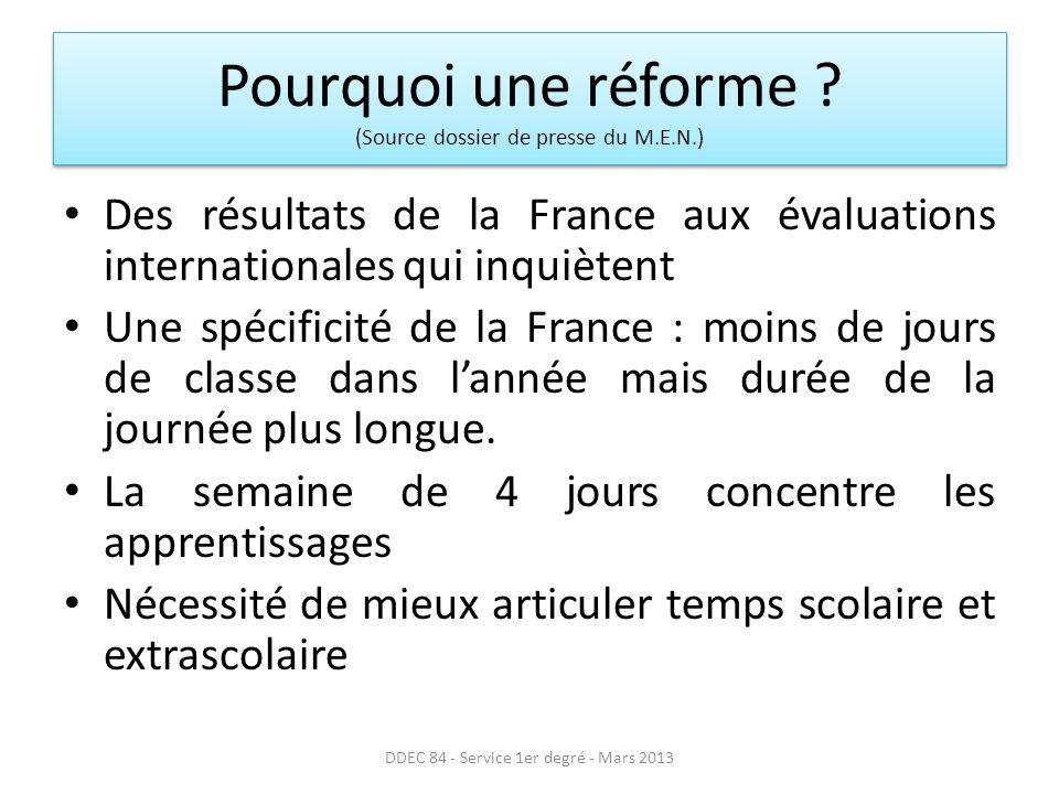 Pourquoi une réforme (Source dossier de presse du M.E.N.)