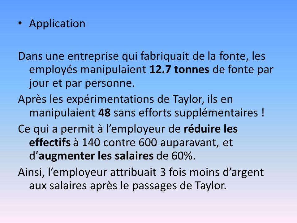 Application Dans une entreprise qui fabriquait de la fonte, les employés manipulaient 12.7 tonnes de fonte par jour et par personne.