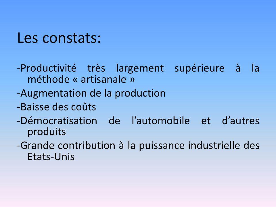 Les constats: -Productivité très largement supérieure à la méthode « artisanale » -Augmentation de la production.