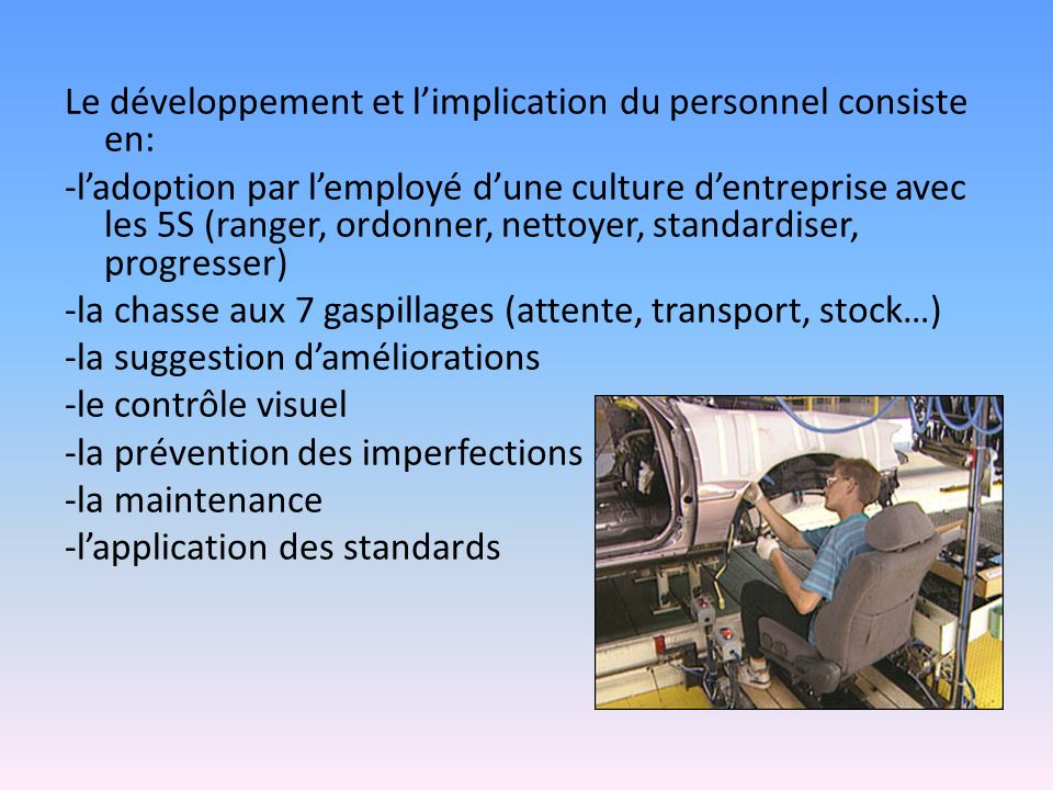 Le développement et l'implication du personnel consiste en: -l'adoption par l'employé d'une culture d'entreprise avec les 5S (ranger, ordonner, nettoyer, standardiser, progresser) -la chasse aux 7 gaspillages (attente, transport, stock…) -la suggestion d'améliorations -le contrôle visuel -la prévention des imperfections -la maintenance -l'application des standards