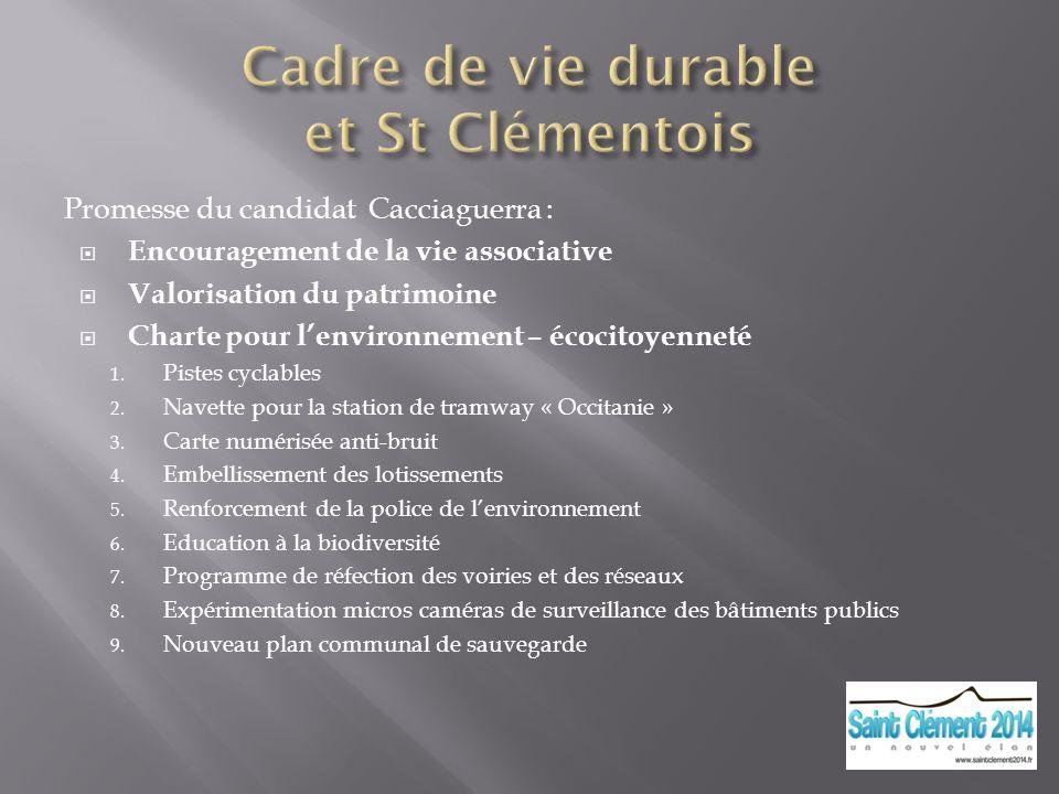 Cadre de vie durable et St Clémentois