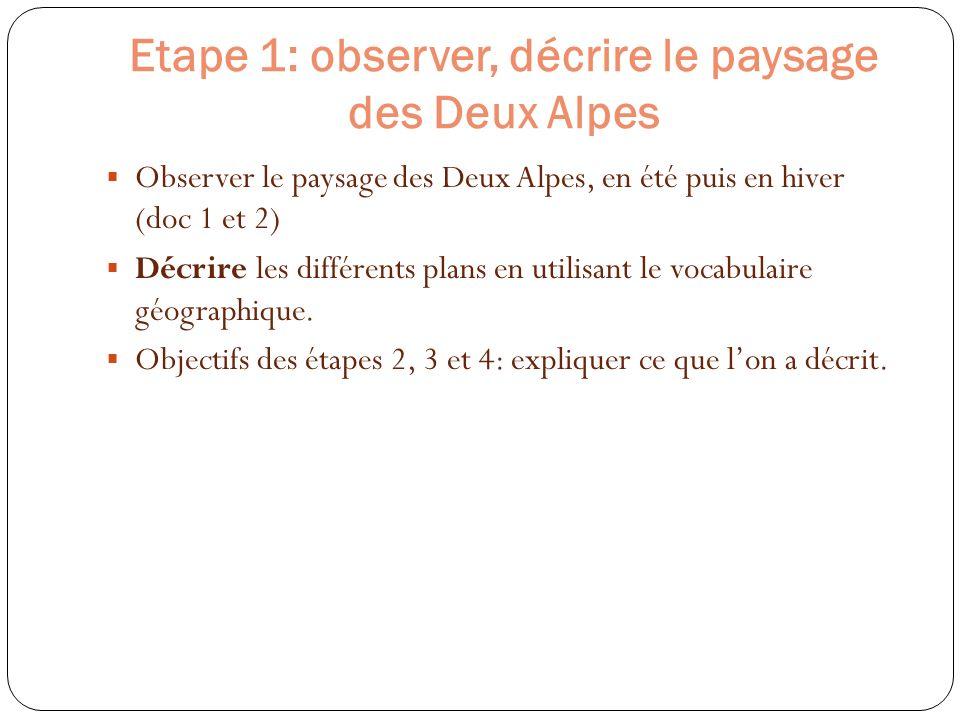 Etape 1: observer, décrire le paysage des Deux Alpes