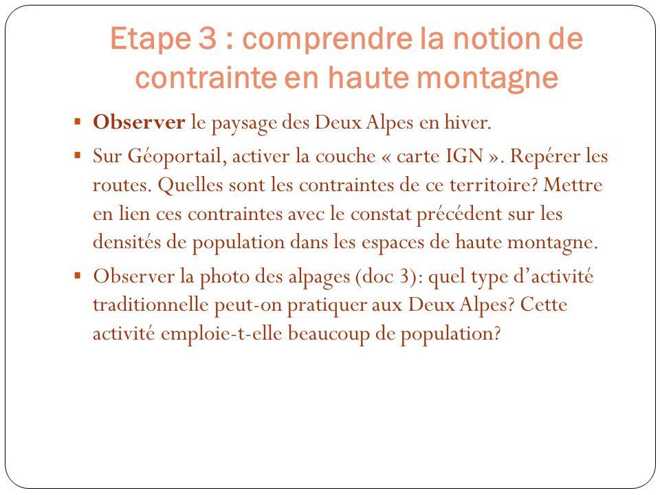 Etape 3 : comprendre la notion de contrainte en haute montagne