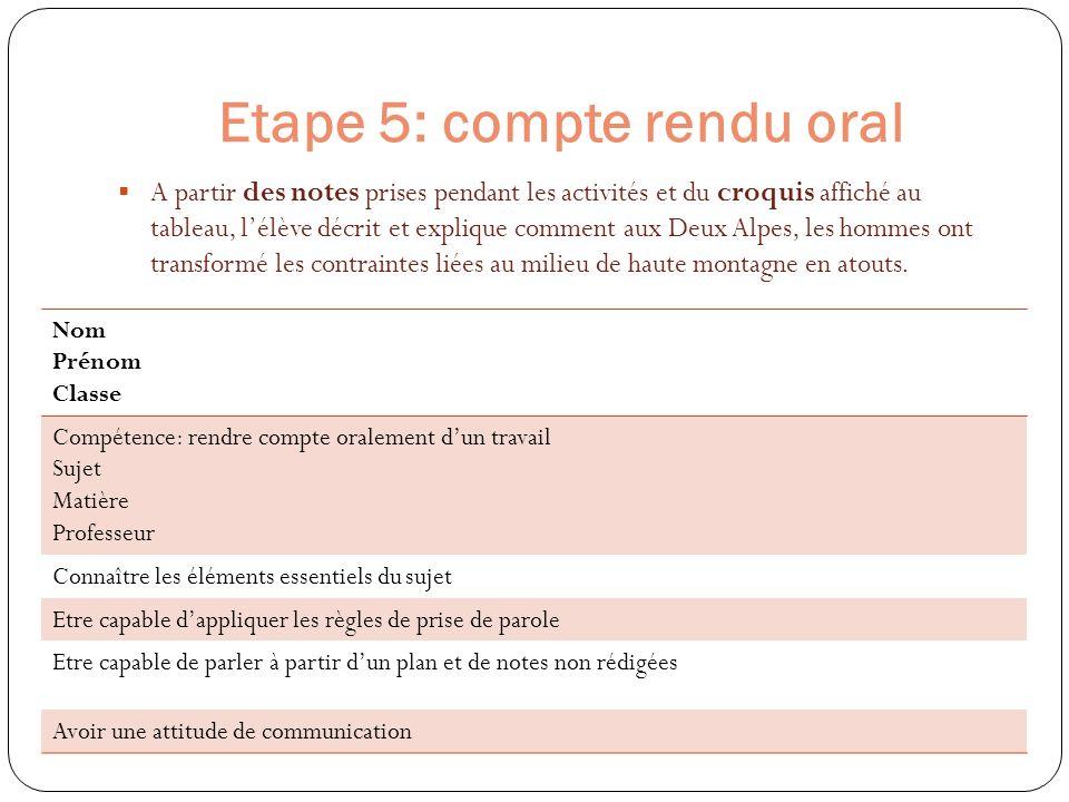 Etape 5: compte rendu oral