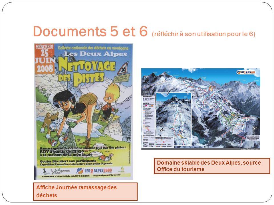 Documents 5 et 6 (réfléchir à son utilisation pour le 6)