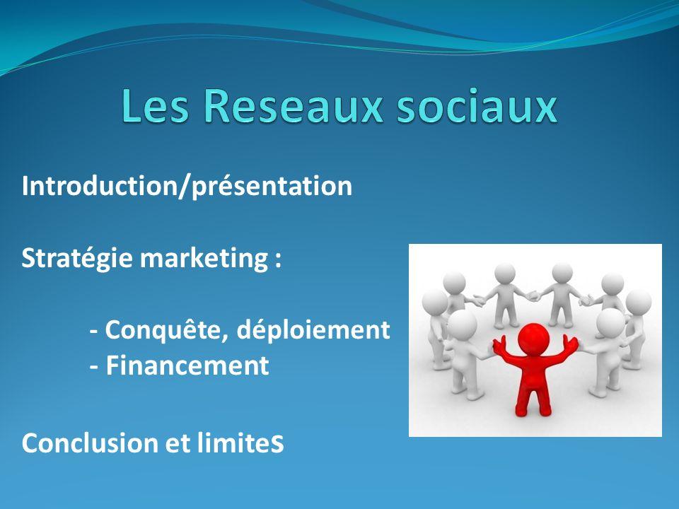 Les Reseaux sociaux Introduction/présentation Stratégie marketing :