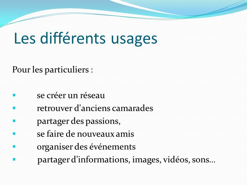 Les différents usages Pour les particuliers : se créer un réseau