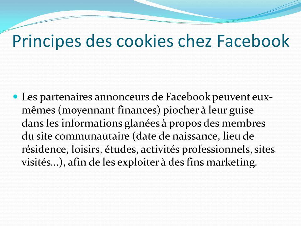 Principes des cookies chez Facebook
