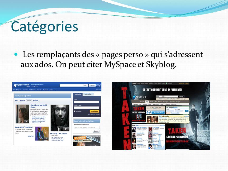 Catégories Les remplaçants des « pages perso » qui s'adressent aux ados.