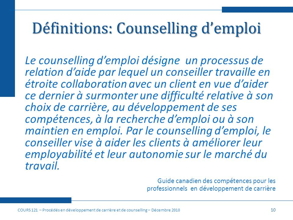 Définitions: Counselling d'emploi
