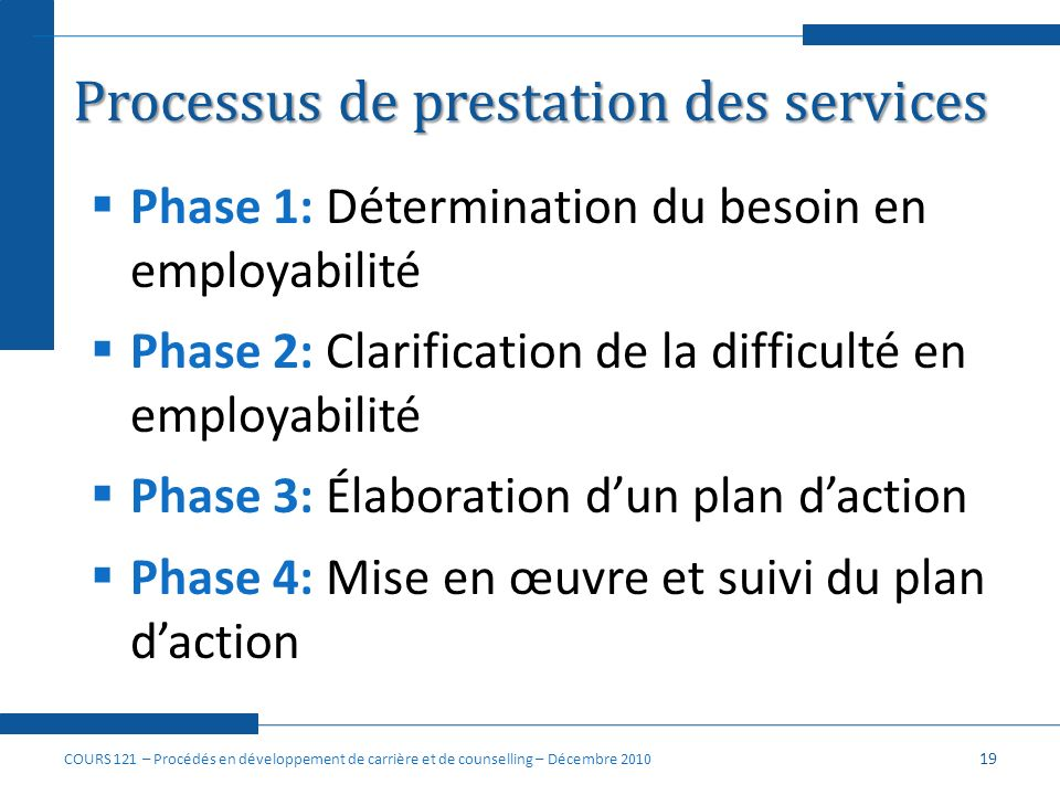 Processus de prestation des services
