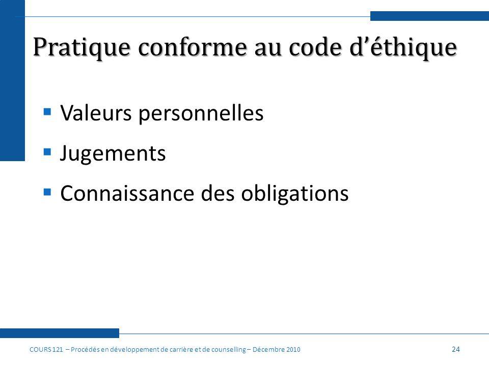 Pratique conforme au code d'éthique