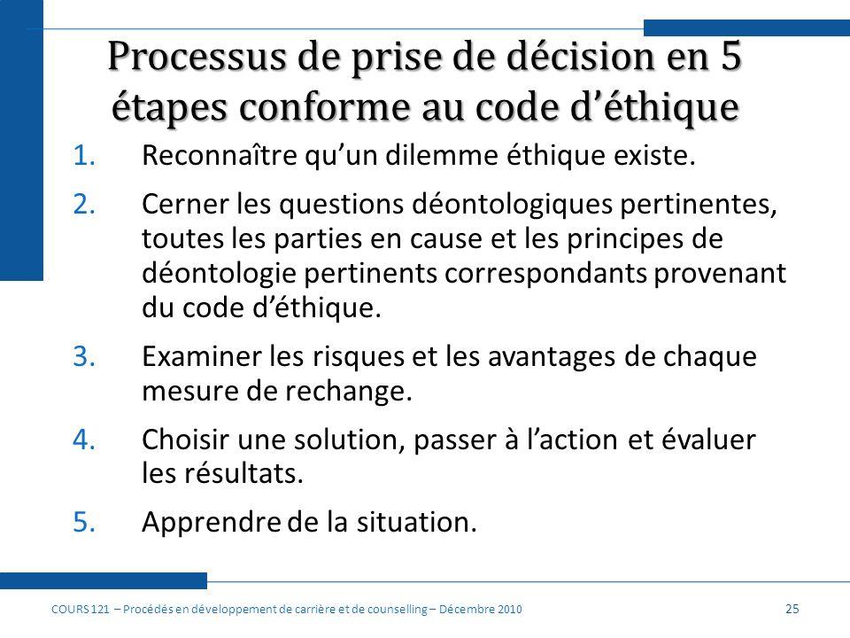 Processus de prise de décision en 5 étapes conforme au code d'éthique