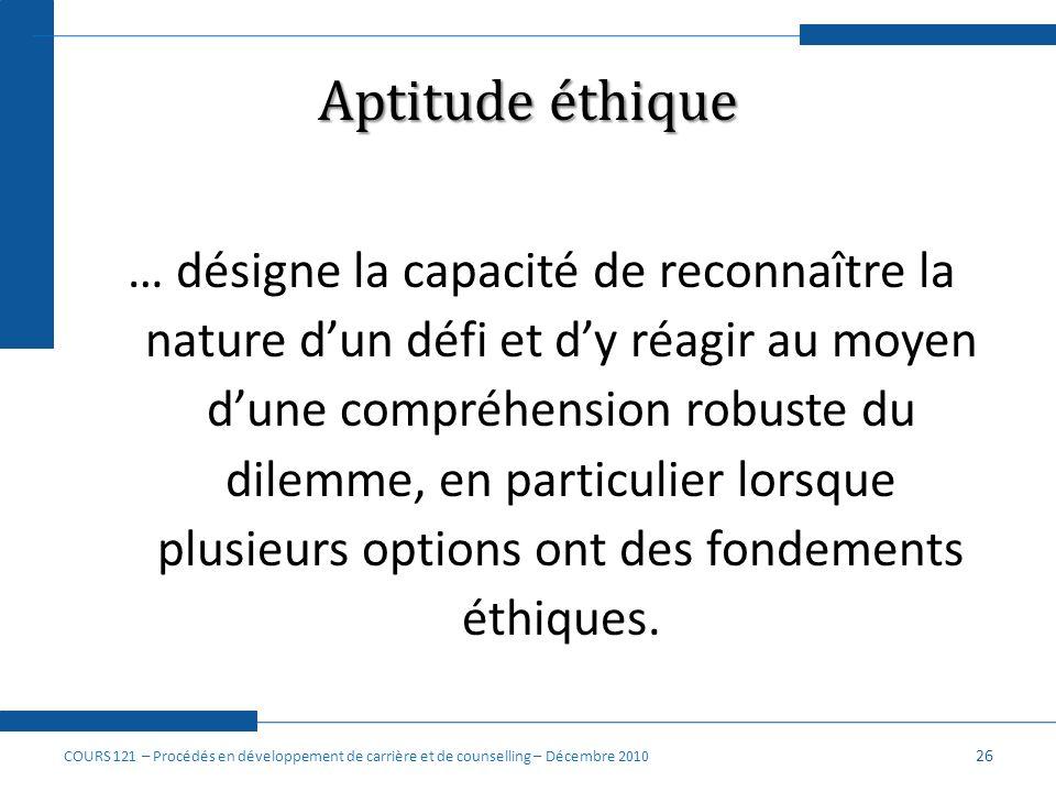 Aptitude éthique