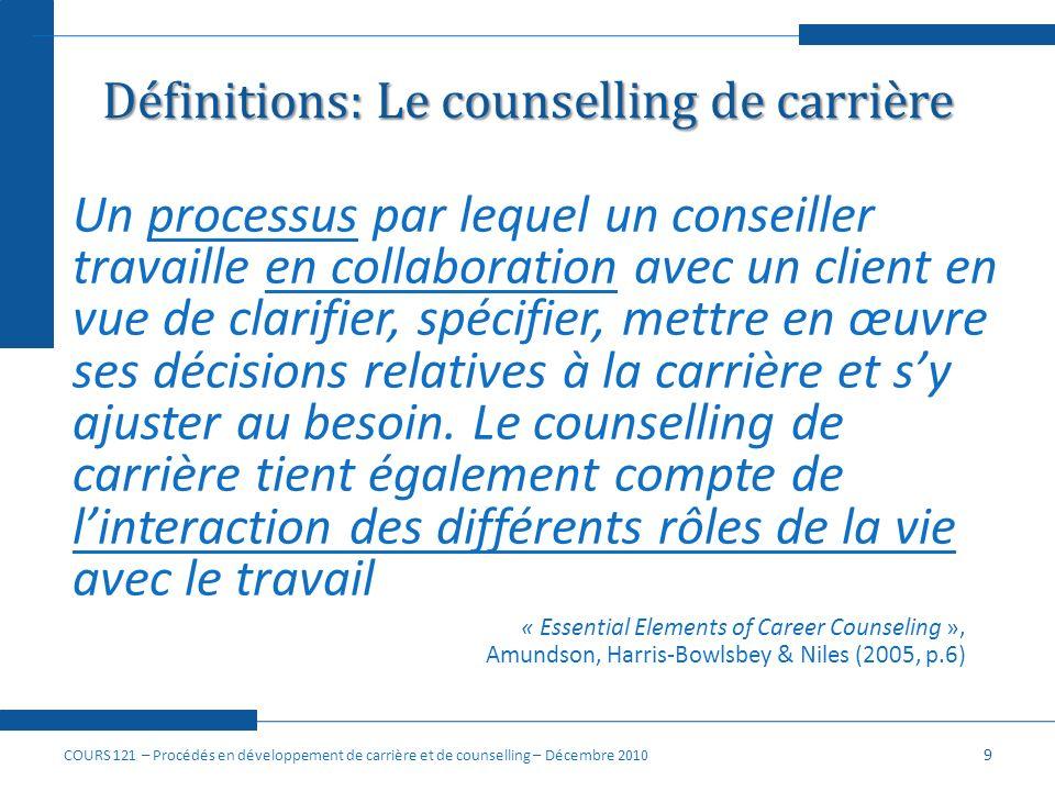 Définitions: Le counselling de carrière
