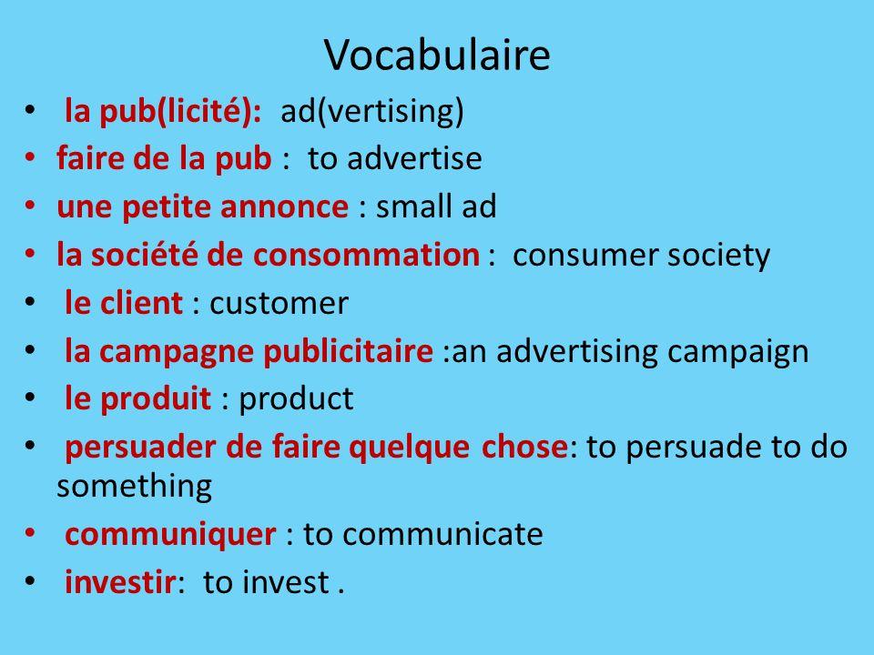 Vocabulaire la pub(licité): ad(vertising)