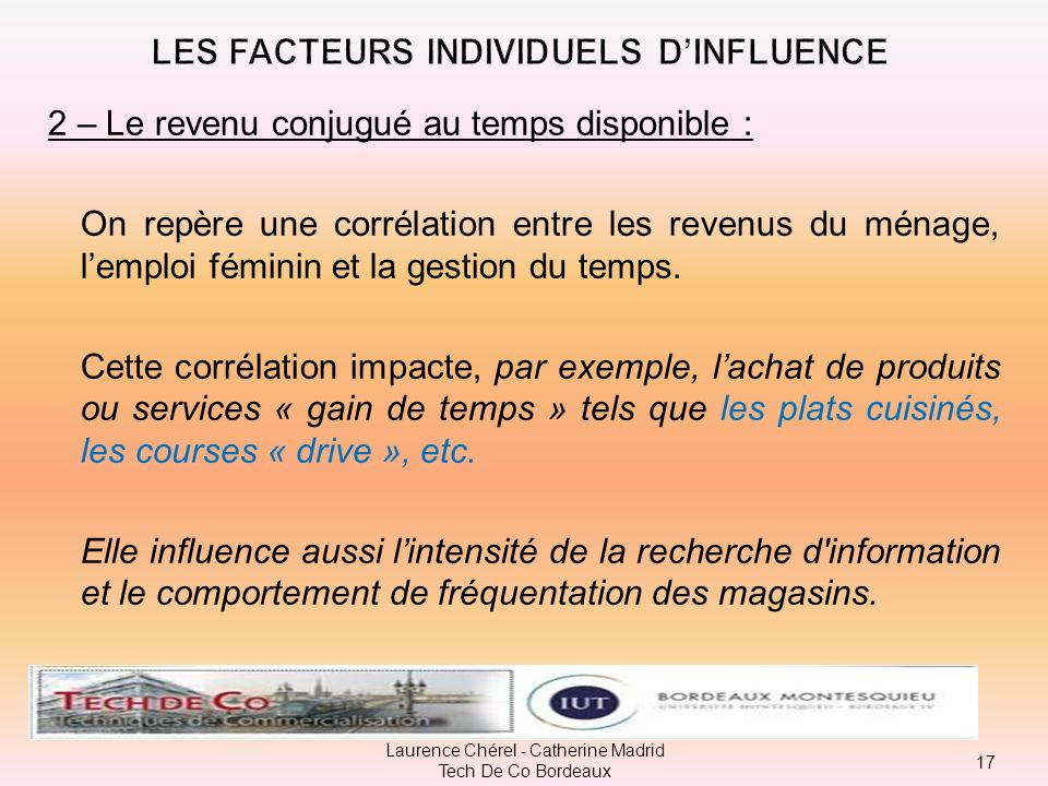 LES FACTEURS INDIVIDUELS D'INFLUENCE