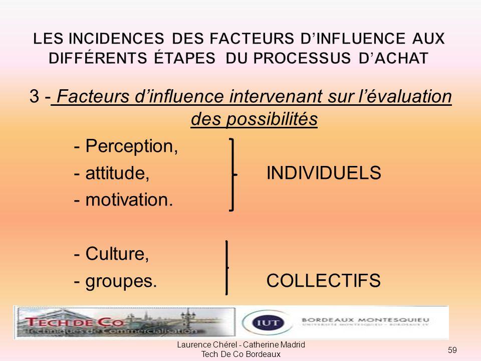 3 - Facteurs d'influence intervenant sur l'évaluation des possibilités