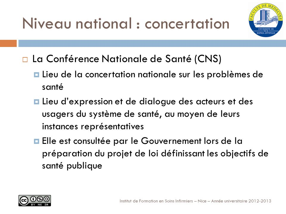 Niveau national : concertation