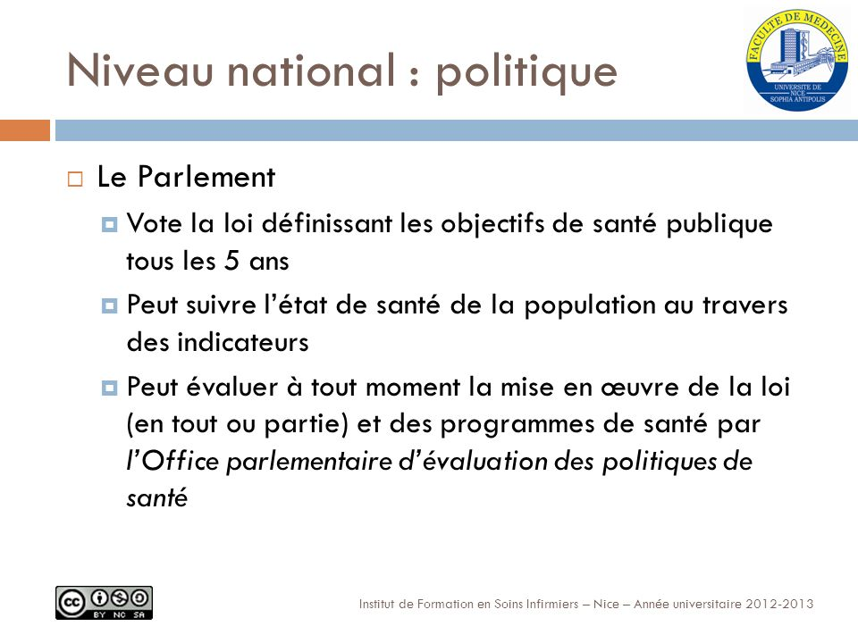 Niveau national : politique