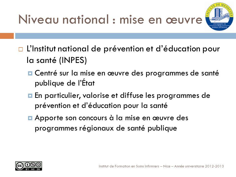 Niveau national : mise en œuvre