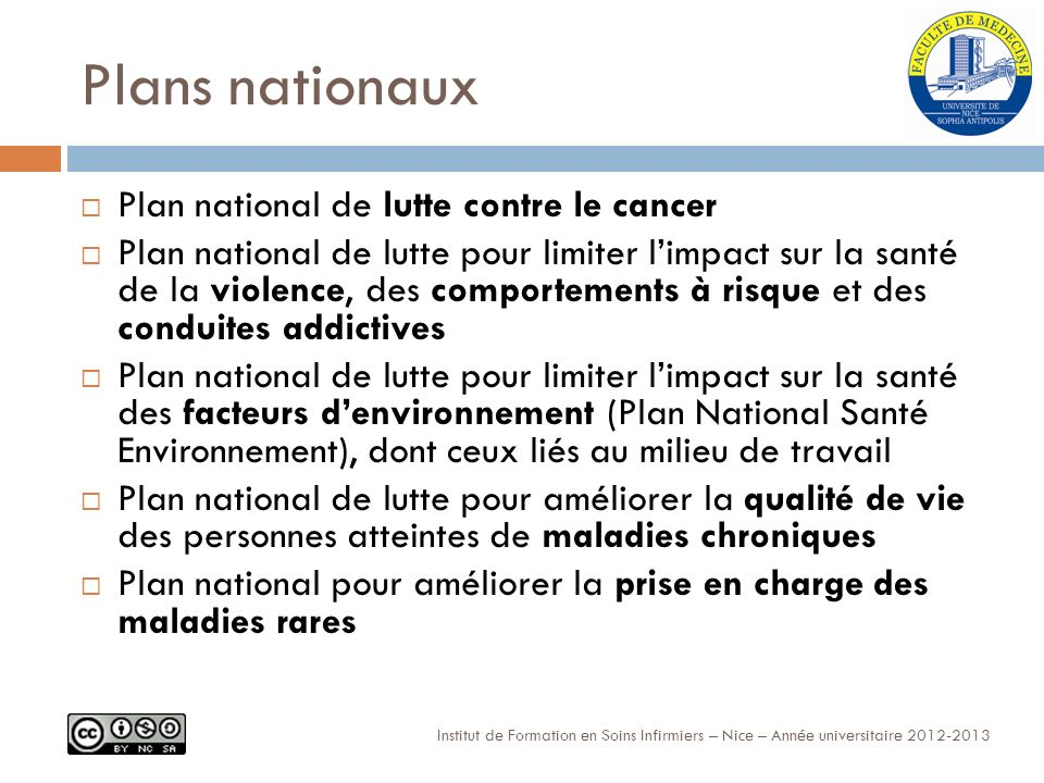 Plans nationaux Plan national de lutte contre le cancer