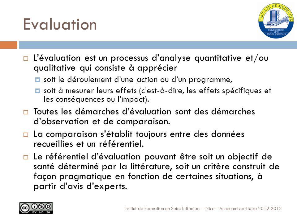 Evaluation L'évaluation est un processus d'analyse quantitative et/ou qualitative qui consiste à apprécier.