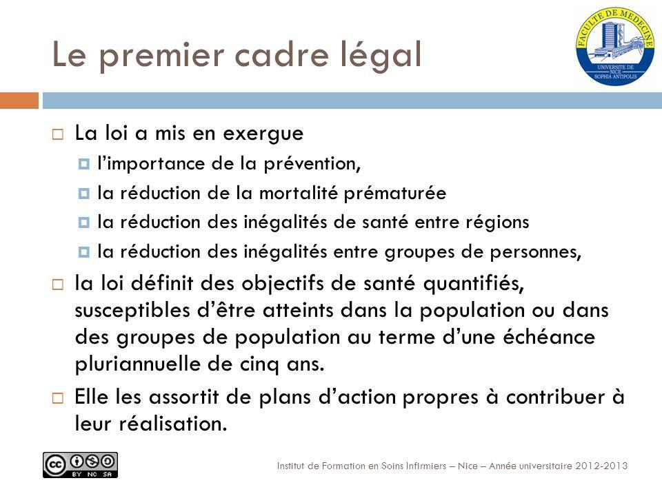 Le premier cadre légal La loi a mis en exergue