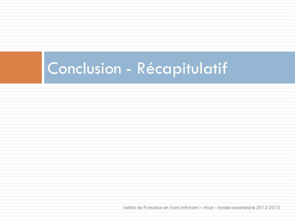 Conclusion - Récapitulatif