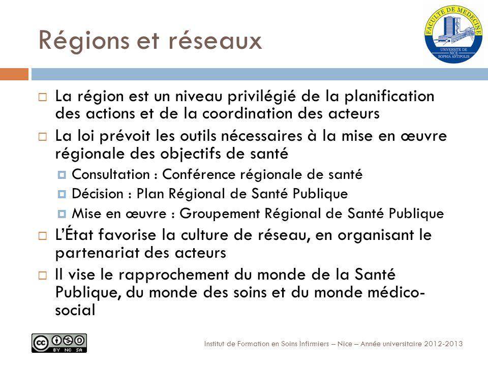 Régions et réseaux La région est un niveau privilégié de la planification des actions et de la coordination des acteurs.