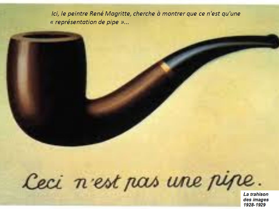 Ici, le peintre René Magritte, cherche à montrer que ce n est qu une « représentation de pipe »...