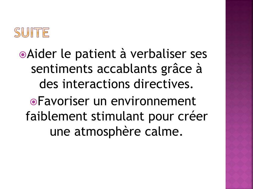 Suite Aider le patient à verbaliser ses sentiments accablants grâce à des interactions directives.