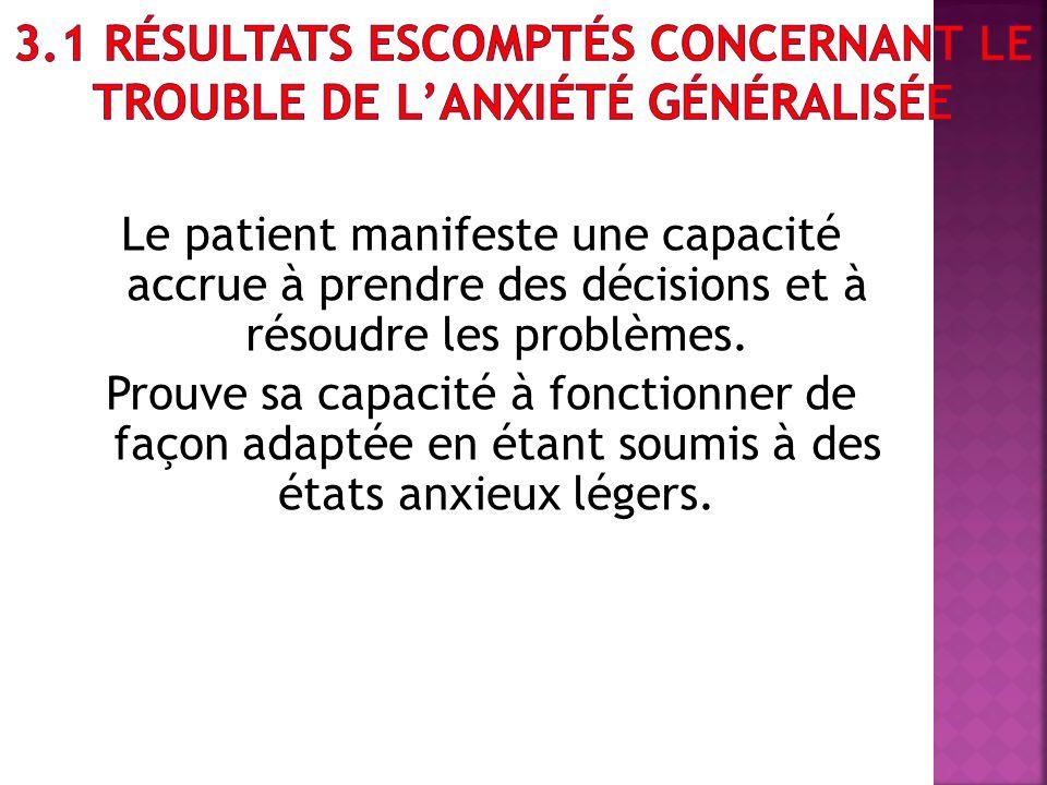 3.1 Résultats escomptés concernant le trouble de l'anxiété généralisée