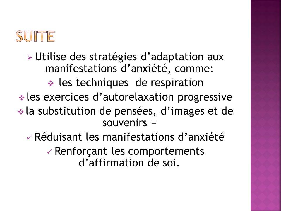 Suite Utilise des stratégies d'adaptation aux manifestations d'anxiété, comme: les techniques de respiration.