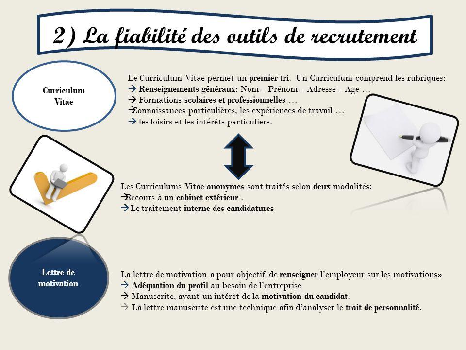 2) La fiabilité des outils de recrutement
