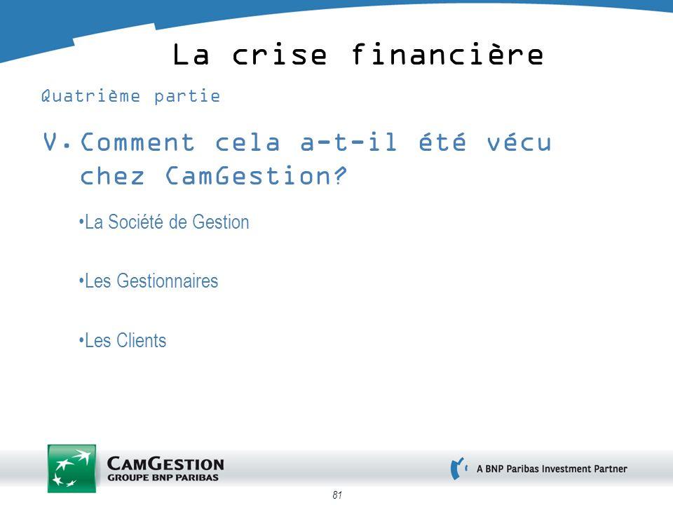 La crise financière Comment cela a-t-il été vécu chez CamGestion