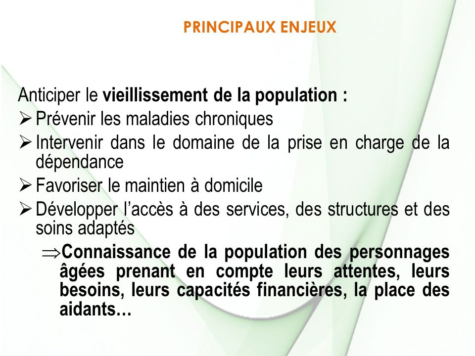 Anticiper le vieillissement de la population :