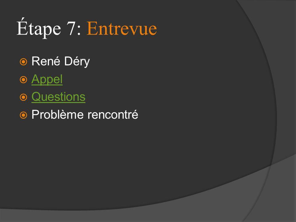 Étape 7: Entrevue René Déry Appel Questions Problème rencontré