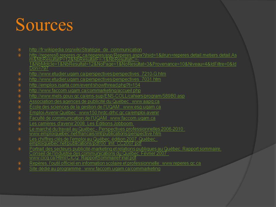 Sources http://fr.wikipedia.org/wiki/Stratégie_de_communication