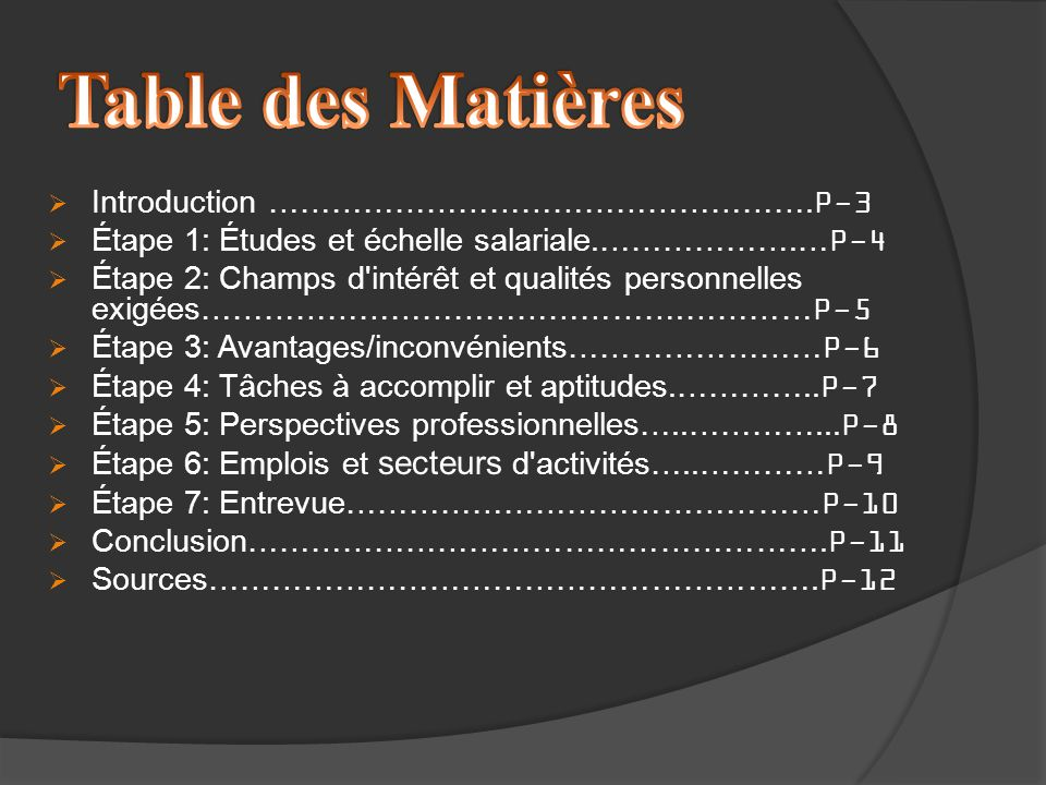 Table des Matières Introduction …………………………………………….P-3