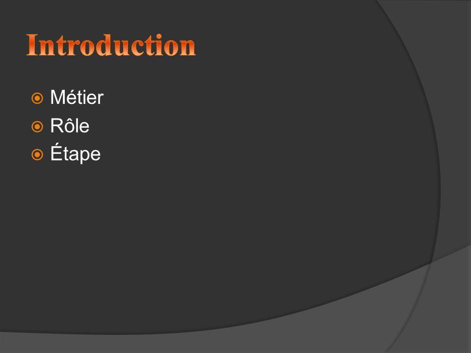 Introduction Métier Rôle Étape