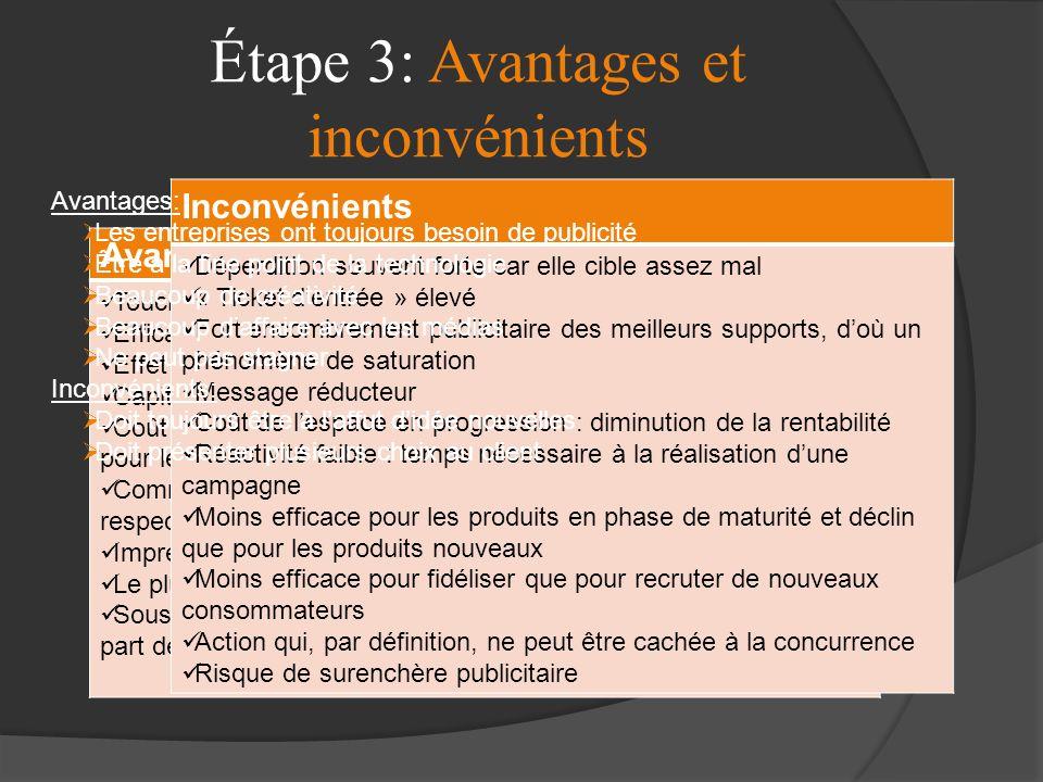 Étape 3: Avantages et inconvénients
