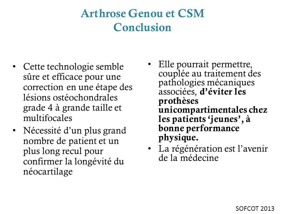 Arthrose Genou et CSM Conclusion