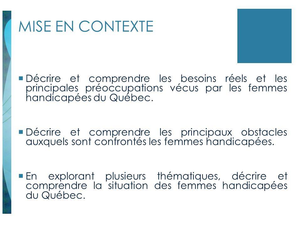 MISE EN CONTEXTE Décrire et comprendre les besoins réels et les principales préoccupations vécus par les femmes handicapées du Québec.