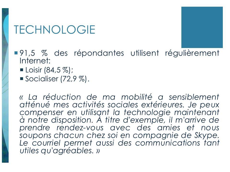 TECHNOLOGIE 91,5 % des répondantes utilisent régulièrement Internet:
