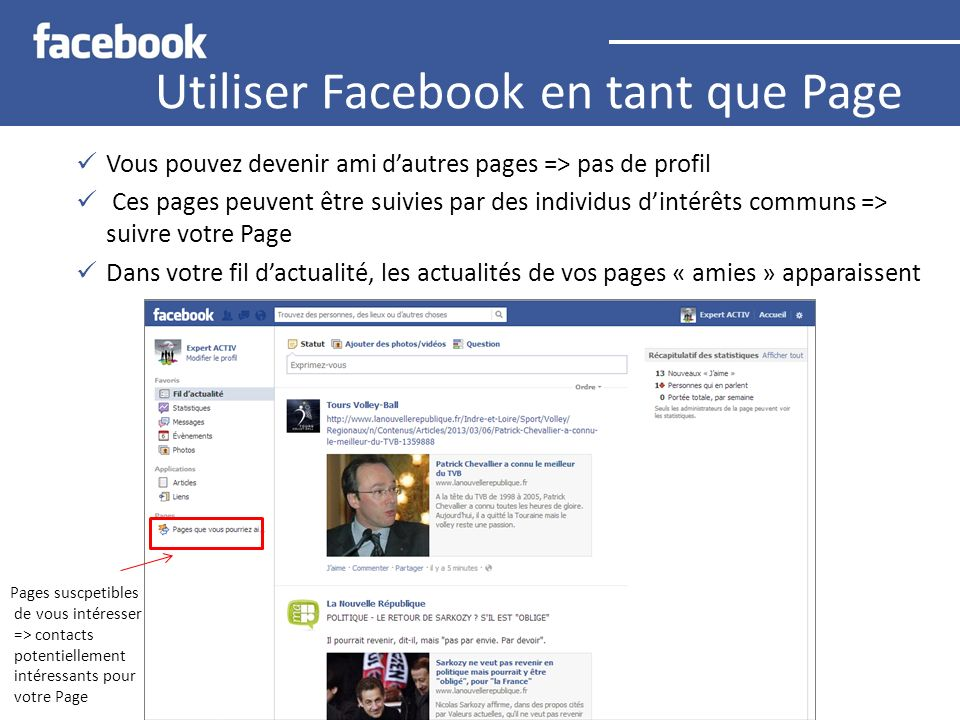 Utiliser Facebook en tant que Page