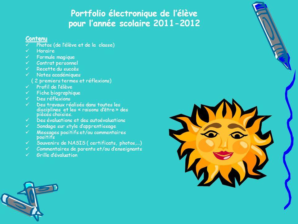 Portfolio électronique de l'élève pour l'année scolaire 2011-2012
