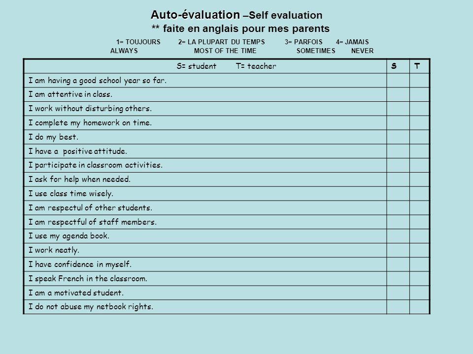 Auto-évaluation –Self evaluation