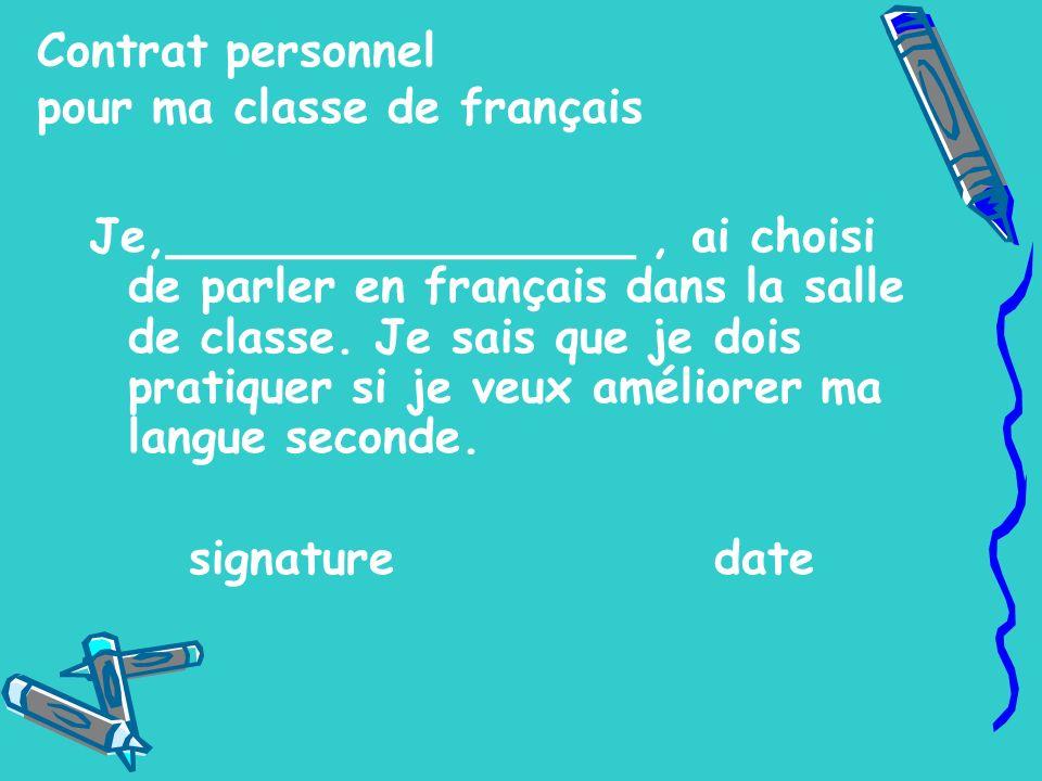 Contrat personnel pour ma classe de français