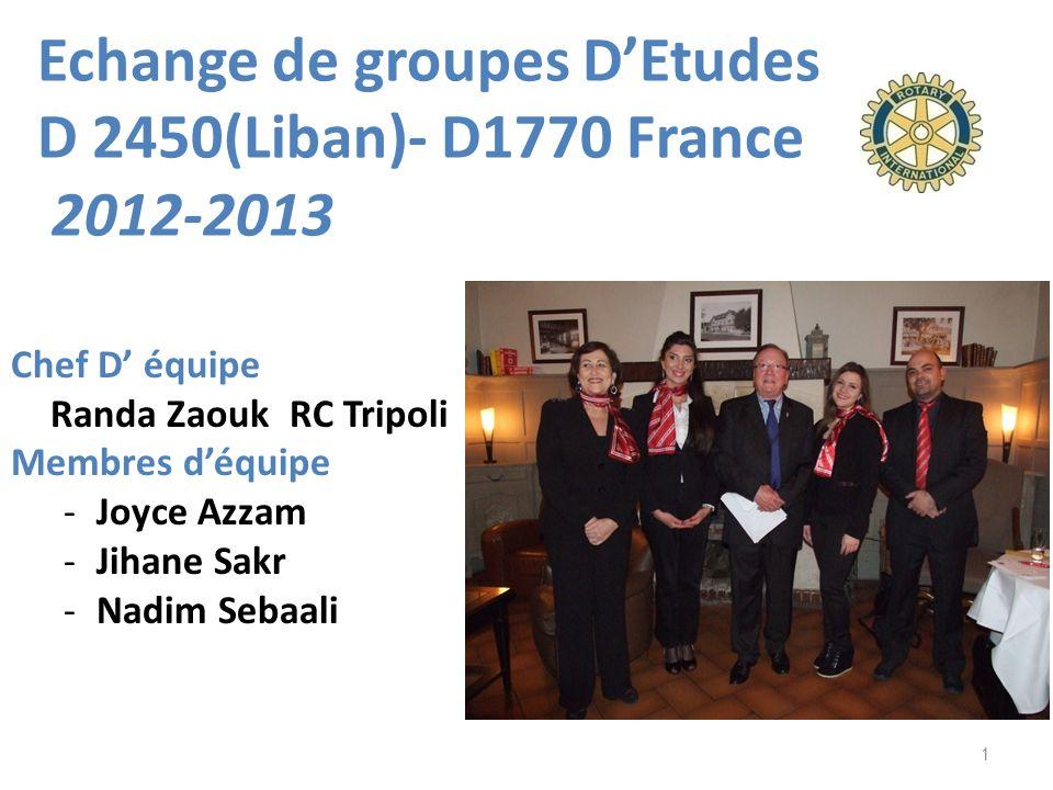 Echange de groupes D'Etudes D 2450(Liban)- D1770 France 2012-2013